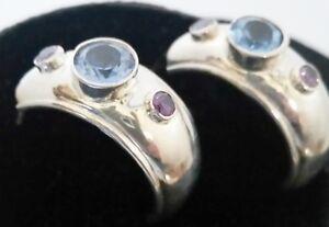 Vintage-Sterling-Silver-Amethyst-amp-Blue-Topaz-Half-Hoop-Pierced-Earrings-CPT