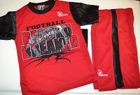 Mecca Boys 2 Piece Short Set Size 4 Black Red Football