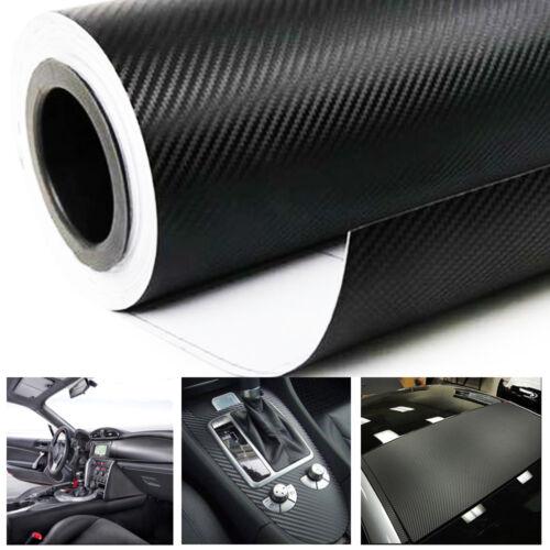 3D Black Carbon Fiber Vinyl Car DIY Wrap Sheet Roll Film Sticker Decal 20x 50