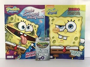 3-Pc-Sponge-Bob-Square-Pants-Jumbo-Coloring-amp-Activity-Books-Metallic-Crayons