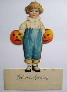 Vintage-Halloween-Diecut-Placecard-Ellen-Clapsaddle-Wolf-Original-Girl-Pumpkins