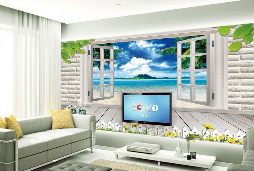3D spiaggia legno Parete Murale Foto Carta da parati immagine sfondo muro stampa