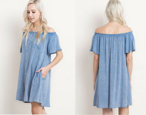 550da2dc952 Details about Soft Distresed Denim Off Shoulder Boho Loose Sun Summer Dress  Casual Tunic Shift