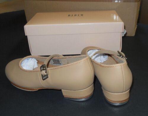 "Bloch SO302 Leather Tap On Tan 1/"" Heel Techno Taps Girls Ladies New N BOX"