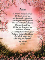 Personalized Poem For Mom On Her Birthday Or Mother's Days Gift Idea