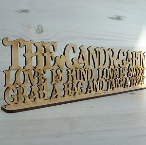 Sayings Plaque Candy Cabin Sweet Trolley Wedding Word Sign Wood Art