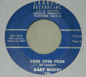 Rare Gary Whitby on Carroll Records / 45 rpm / Love Ove