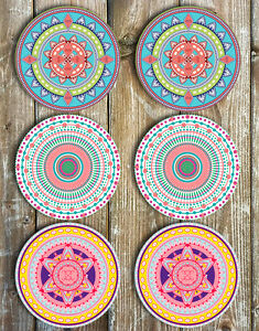 Mandala-Mix-Drink-Coasters-Set-of-6-Neoprene-Our-bestselling-coasters-are-back