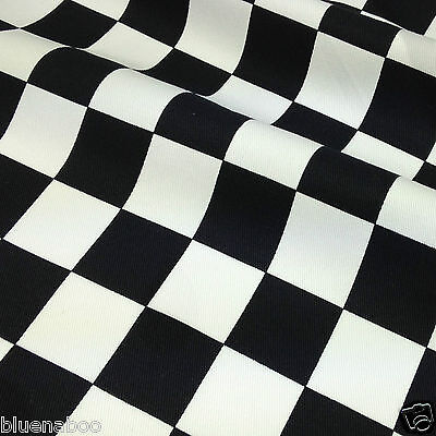 CHEFS CHECK black /& white 100 /% cotton drill fabric 148 cm  208 gsm