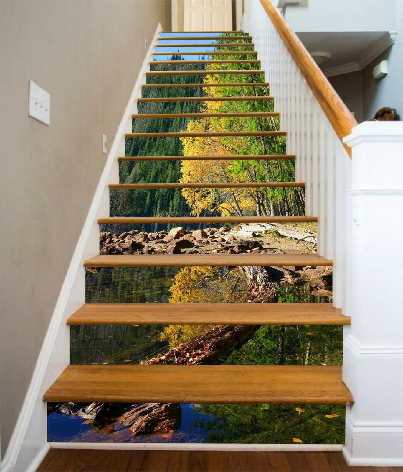 3D Forest Lake 16 Stair Risers Decoration Photo Mural Vinyl Decal Wallpaper CA