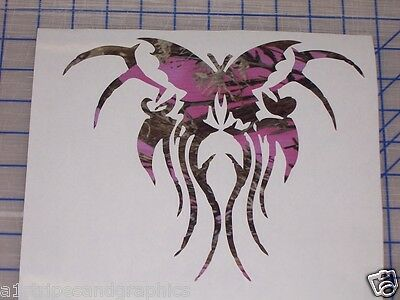 LRG 16x18  Pink Camo Tribal Butterfly Decal Truck Window Sticker Decals Stickers