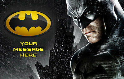 BATMAN PERSONALISED EDIBLE ICING CUSTOM PARTY CAKE DECORATION TOPPER IMAGE