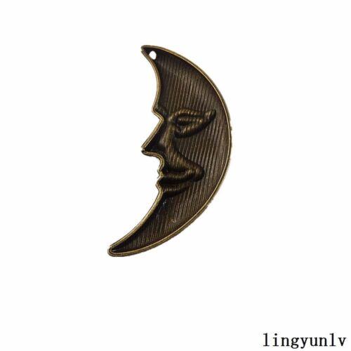 8 pcs Antiqued Bronze Alloy Half Moon Face Pendant Jewelry Accessories 63x33mm
