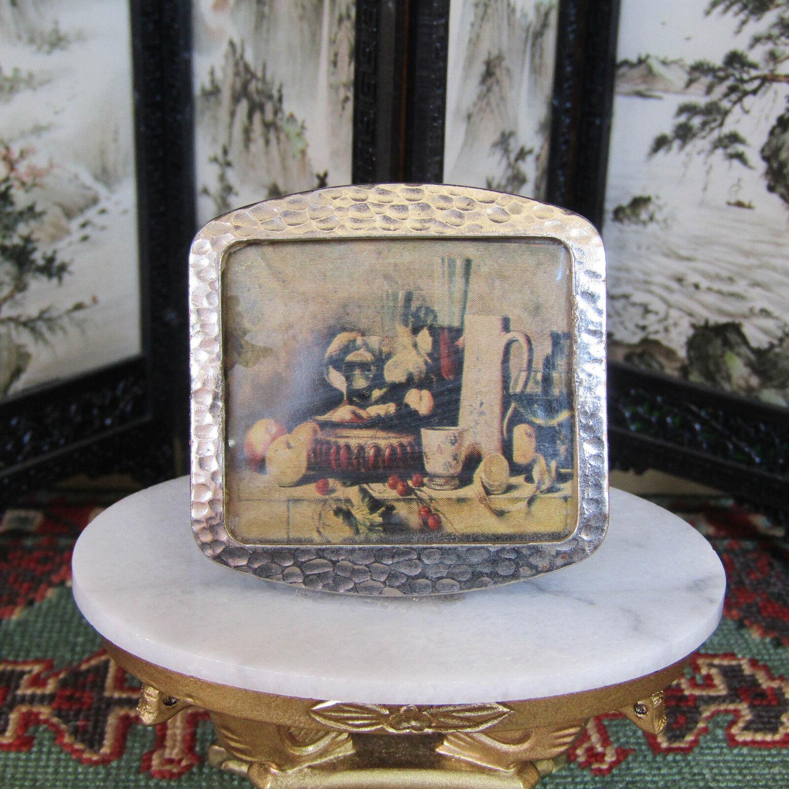Antiguo De Colección Miniatura Bodegón Impresión Marco Plata Martillado Casa De Muñecas