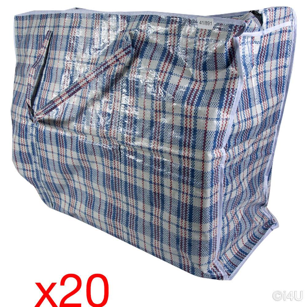 20 x Jumbo Shopping Bag 80x60 di qualità in tessuto PVC in PLASTICA SACCHETTI ZIP lavanderia di stoccaggio
