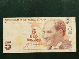 Turkey-Turchia-5-Lira-2009-VF-BB-TTB-serie-A