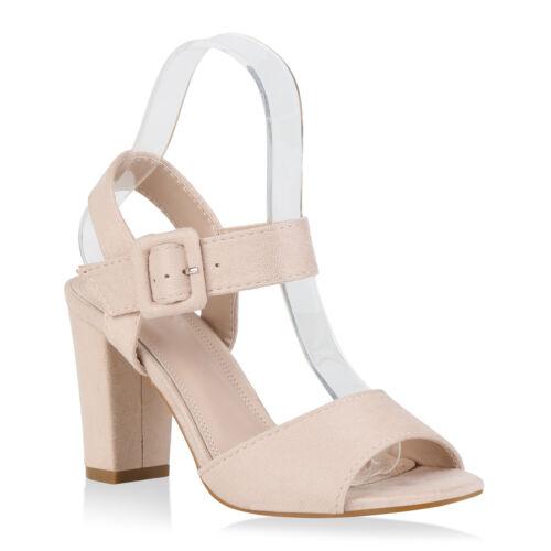 Damen Sandaletten Blockabsatz High Heels Absatzschuhe 830012 Trendy Neu