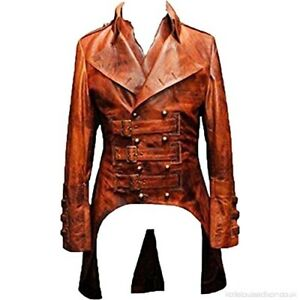 Men-Gothic-Tailcoat-Steampunk-Victorian-Real-Brown-Leather-Trench-Long-Coat