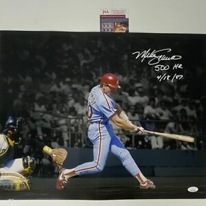 Autographed/Signed MIKE SCHMIDT 500th HR Inscribed Phillies 16x20 Photo JSA COA