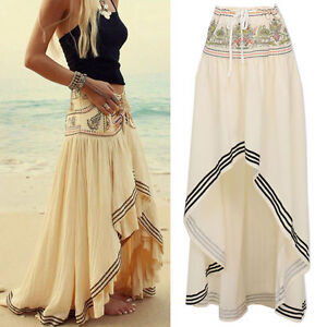 Lady-Women-039-s-Boho-Tribal-Floral-Skirt-Maxi-Summer-Beach-Long-Casual-Skirt-Dress