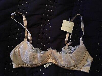 BNWT Myla Heritage Silk Padded Plunge Bra in Mauve//Slate Lace 34D RRP £120