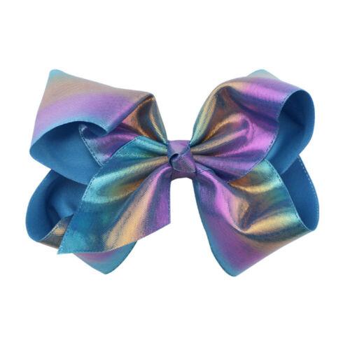"8/"" Rainbow JoJo Bow Hair Clip for Girl shinning Fashion Hair Accessory Bow-knot"