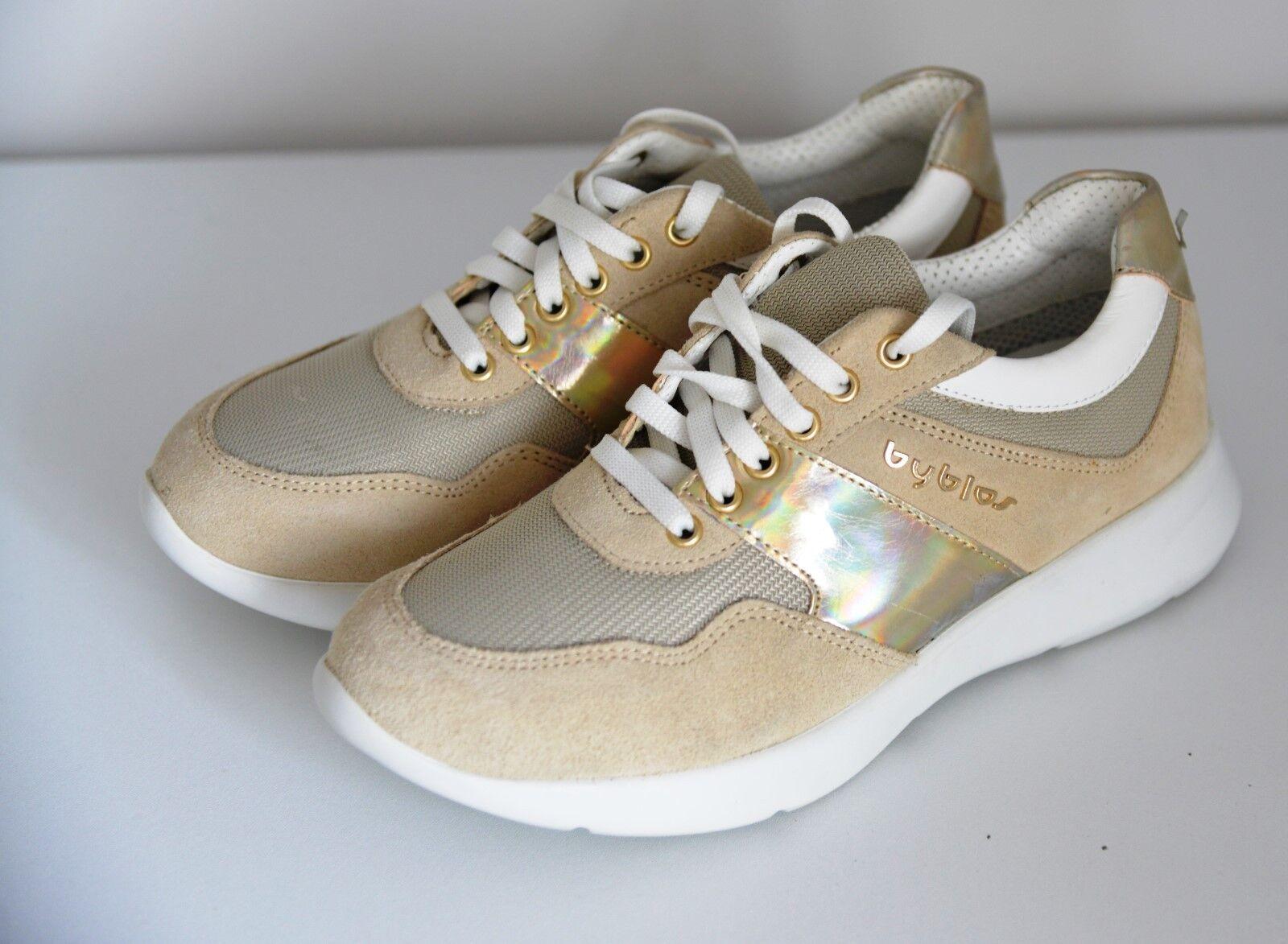 Nouveau BYBLOS Premium femme or Beige Sable Low Top Baskets Baskets Chaussures UK 5