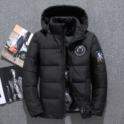 Hommes Hiver Down Jacket Court Chaud Veste Matelassée Gilet Épaissir Manteau Parker NEUF