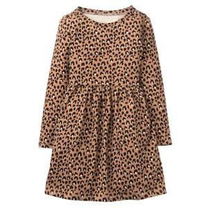 NWT Gymboree Cheetah Print Cotton Knit LS Dress 2T 3T 4T
