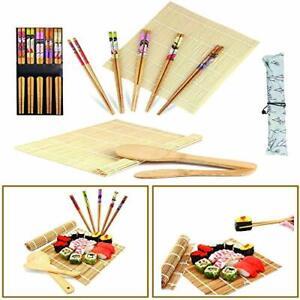 Horbax Kit Sushi 10 pezzi, Set Sushi in bambù, Tappetino per Arrotolare Il S
