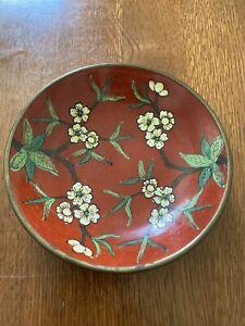 Gorgeous-Vintage-Cloisonne-Brass-Enamel-Bowl-Signed