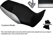 BLACK & WHITE CUSTOM FITS HONDA XL 1000 V VARADERO 08-13 DUAL LEATHER SEAT COVER