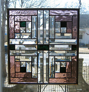 Log Cabin Stained Glass Window Panel Ebsq Artist Ebay