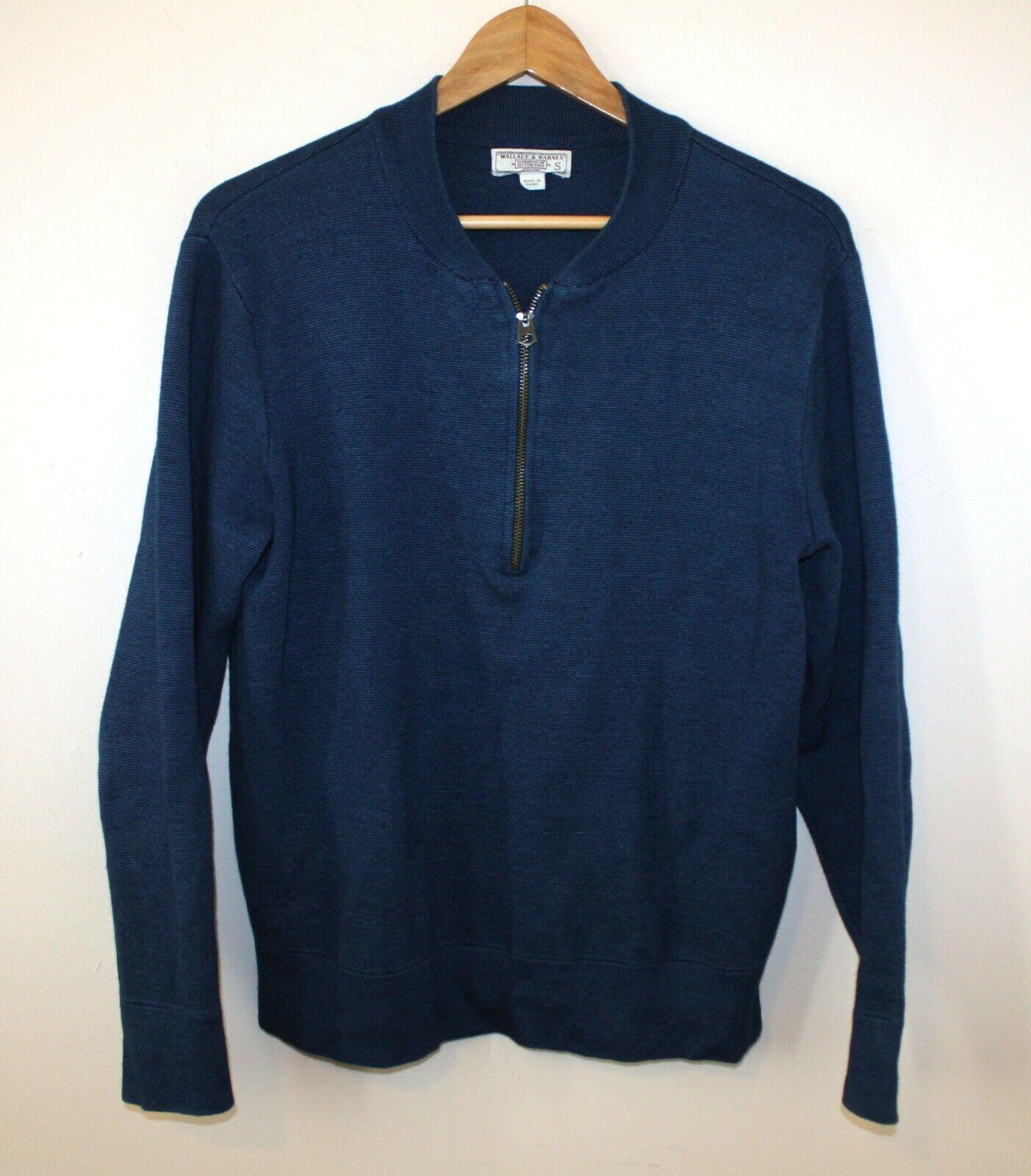 Wallace And Barnes Half-Zip Indigo Sweater bluee Cotton Men's Small