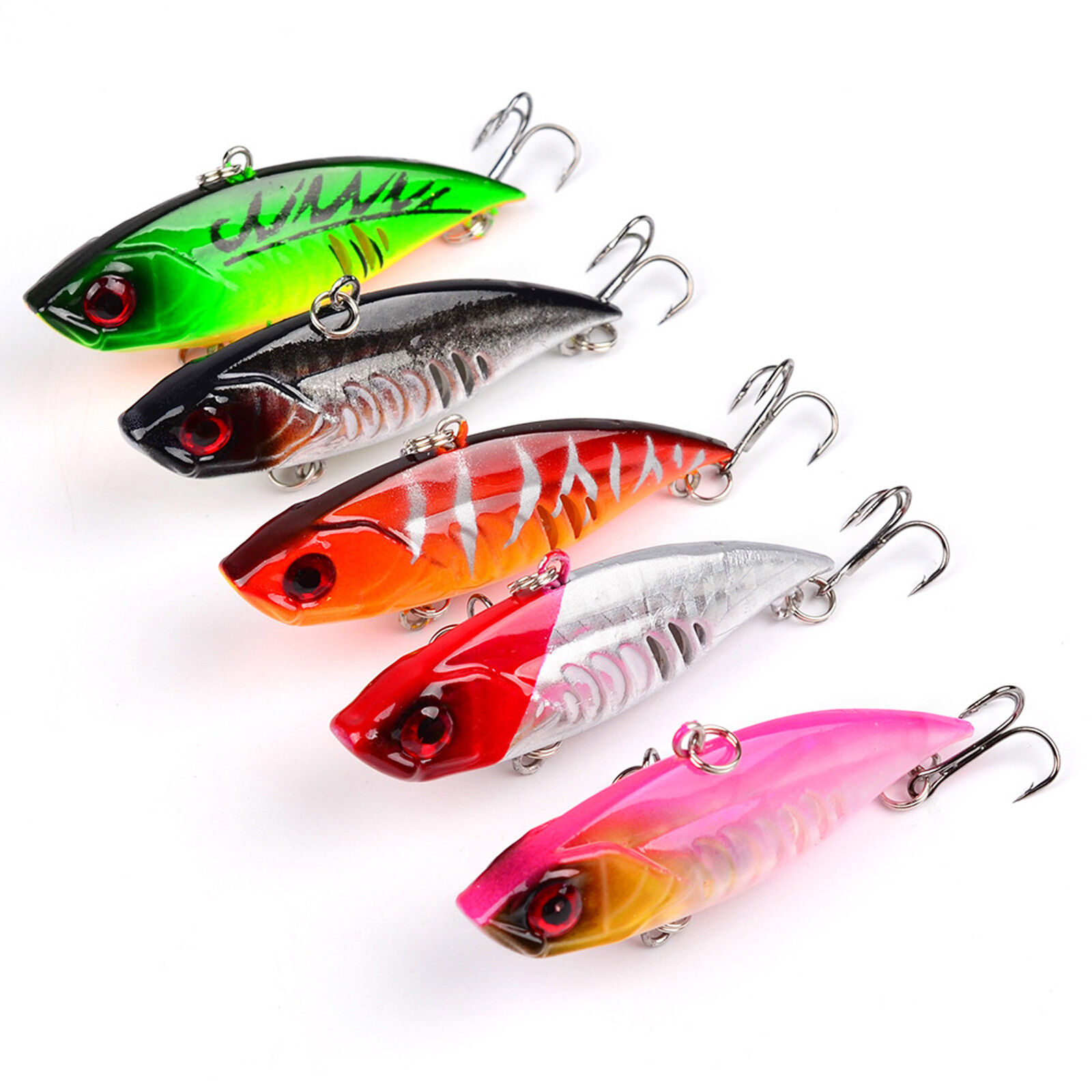 5PCS Fishing Bass Fish VIB Minnow Crankbaits lure hook baits 6.5cm//11g