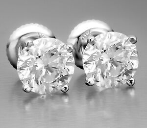 2-08-Ct-Certified-F-SI2-Round-Cut-Natural-Diamond-Stud-Earrings-14K-White-Gold