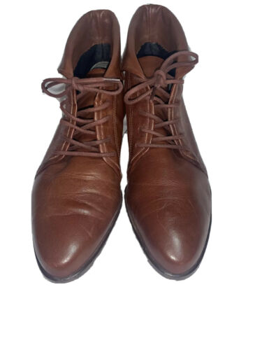 Vtg Nine West 7M Brown Leather Ankle Boots Lace-Up