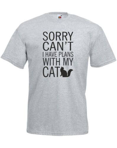Sorry Can/'t I Have Plans With My Cat Mens Printed T-Shirt