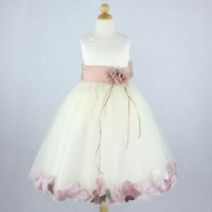 5d5f1a826f05 Image is loading IVORY-DUSTY-ROSE-Flower-Girl-Dress-Petals-Formal-