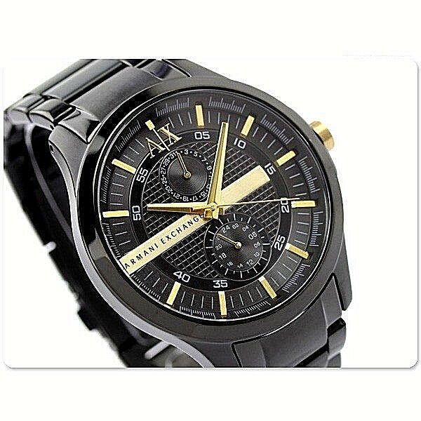 c7980003 AX Armani Exchange Watch Men's Black Ion Plated Stainless Steel Bracelet  46mm AX2121