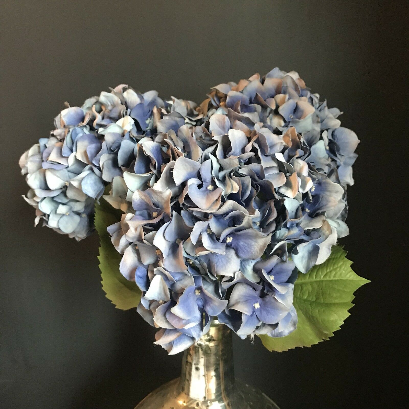 3 Extra Large Light Blau Faux Silk Lacecap Hydrangea Realistic Artificial Flower
