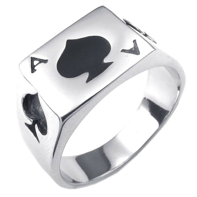 Men's Jewelry Ring,Ring,Playing Cards,Poker Ace of Spades,Stainless Steel,B Z6G4