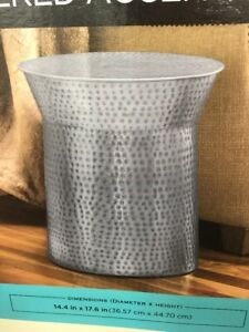 Antique Look Antq Silver Finish Hammered Indoor Metal Accent Stool 14 4 X17 6 Ebay