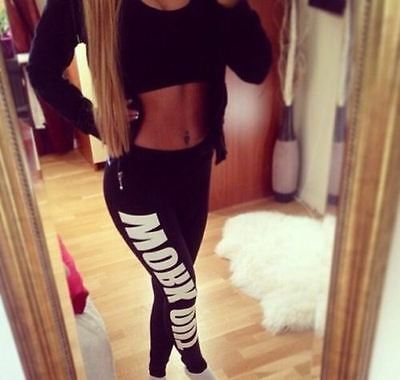 Womens Ladies Logo Work Out Leggings Print Gym Exercise Jogging Casual Pants