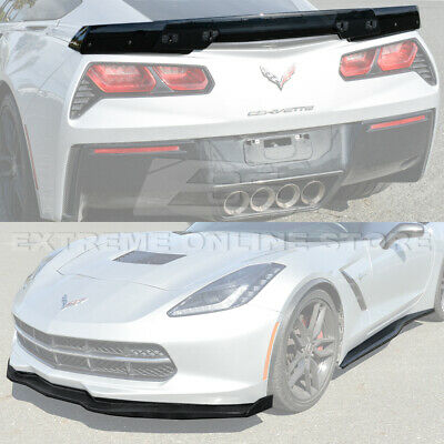 For 2014-2019 Corvette C7 Z06 Stage 2 Style Carbon Fiber Front Bumper Lip Splitter Side End Caps Side Skirts Rocker Panels /& Stage 3 Painted Carbon Flash Rear Spoiler Smoke Tinted WickerBill
