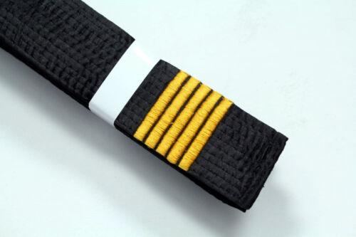 5th Dan Bars Karate Black Belt SATIN With Gold 5 Dan Embroidery 320cm Long