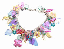 Vibrant Clear Plexi Glass Leaf/enamel Flower Chrome Charm Bracelet(Zx176)