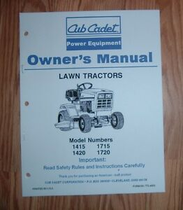 cub cadet 1415 1420 1715 1720 lawn and garden tractor owners manual rh ebay com Old Cub Cadet Lawn Tractors cub cadet 1320 manual