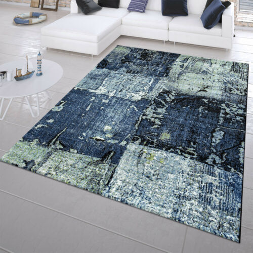 Moderner Kurzflor Teppich Abstraktes Muster Shabby Chic Look In Blau Weiß