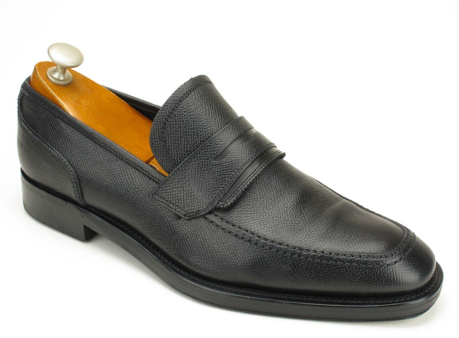 Salvatore Ferragamo Lav. originale noir scotchgrain Leather Penny Loafers 7 EE